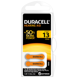 DURACELL ACTIVAIR SIZE 13 HEARING AID BATTERY PACK OF 6...