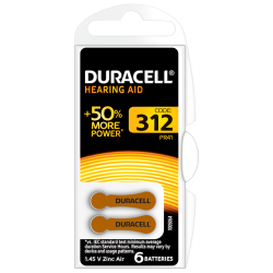 DURACELL ACTIVAIR SIZE 312 HEARING AID BATTERY PACK OF 6...