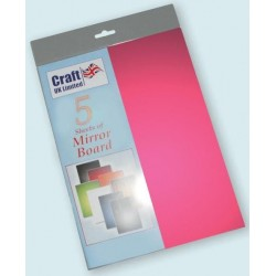 Red Mirror Board pack of 5 A4 sheets from CRAFTUK -...