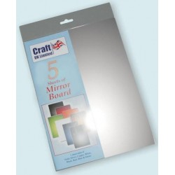 Silver Mirror Board pack of 5 A4 sheets from CRAFTUK -...