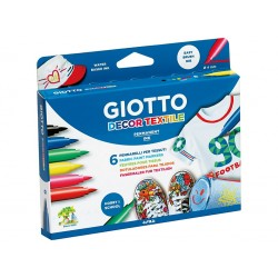 GIOTTO DECOR TEXTILE 6 PERMANENT PAINT MARKERS