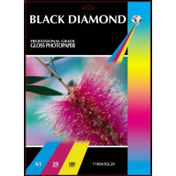 Black Diamond A3 180gsm Inkjet Gloss Photo paper - 20 Sheets