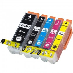 Complete Set of 5 Compatible Epson T33XL Ink Cartridge...