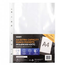 TEXET A4 Punched Pockets Extra Capacity (pack of 100)