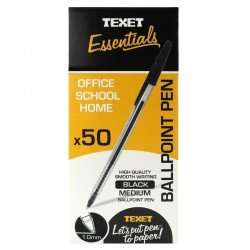 Texet Black Ballpoint Pen (Pack of 50)