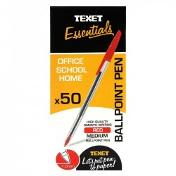 Texet Red Ballpoint Pen (Pack of 50)