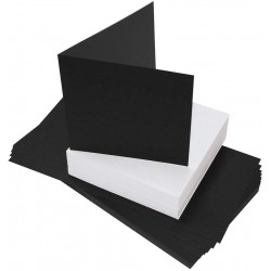 """5"""" x 5"""" Black Card and White Envelope pack of 50 from..."""