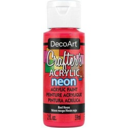 DecoArt Crafters Neon Red acrylic paint 59ml