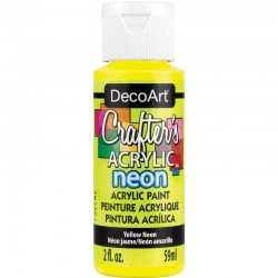 DecoArt Crafters Neon Yellow acrylic paint 59ml